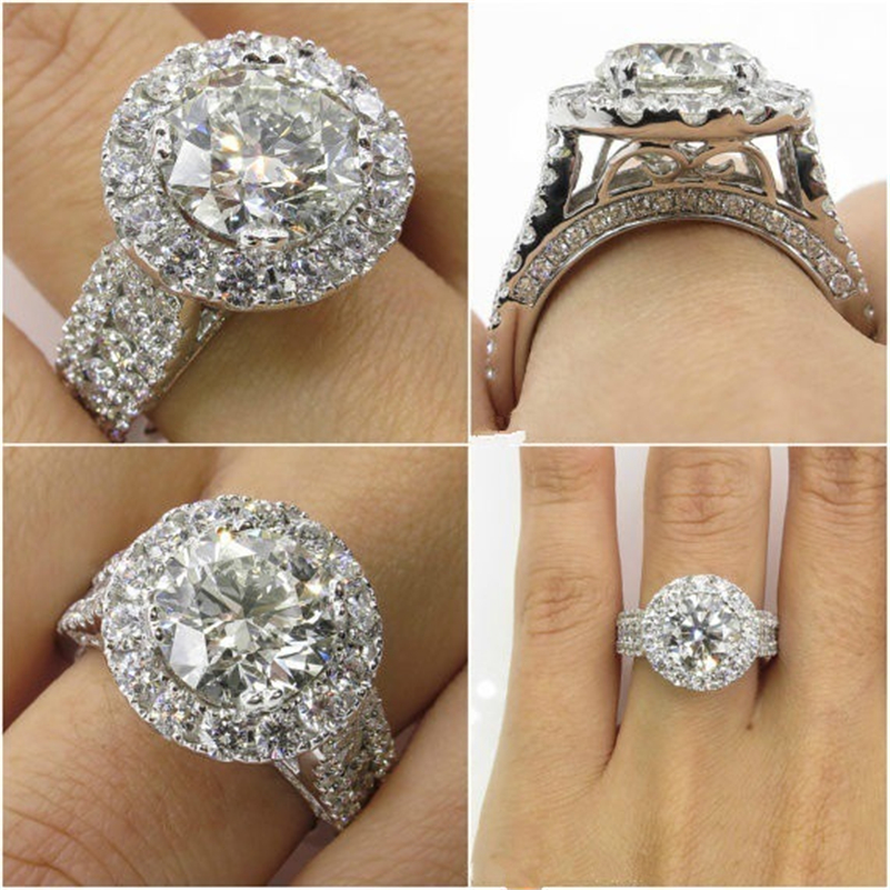 14K or blanc diamant anneaux bijoux pour femmes Bizuteria Anillos Bague Jaune Bague Diamante diamant pierre gemme 2 carats bagues en topaze