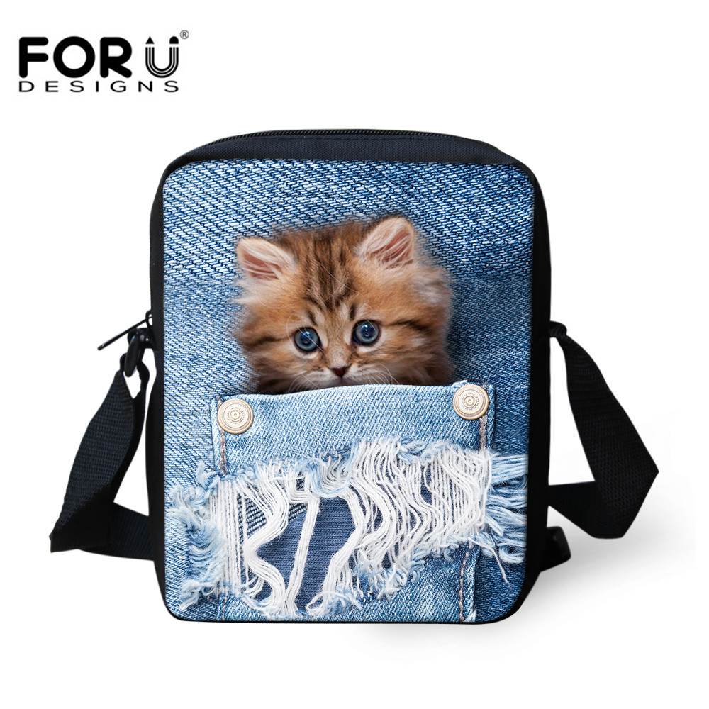 FORUDESIGNS Women Messenger Bags Kawaii Cat 3D Animal Printing Shoulder Bag High Designer Crossbody for Girls