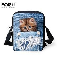 FORUDESIGNS Women Messenger Bags Kawaii Cat 3D Animal Printing Shoulder Bag High Designer Crossbody for Girls