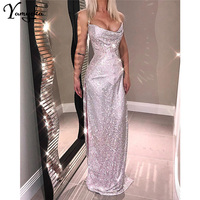 Sexy Bling Metal Chain Crystal Diamond Summer Dress women luxury Night club Gold silver Sequins Body vestidos Party Dresses 2019
