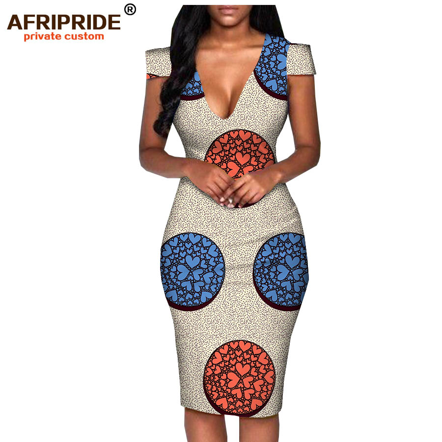 2018 africa summer dress for women AFRIPRIDE tailor made short sleeve knee length casual women pencil