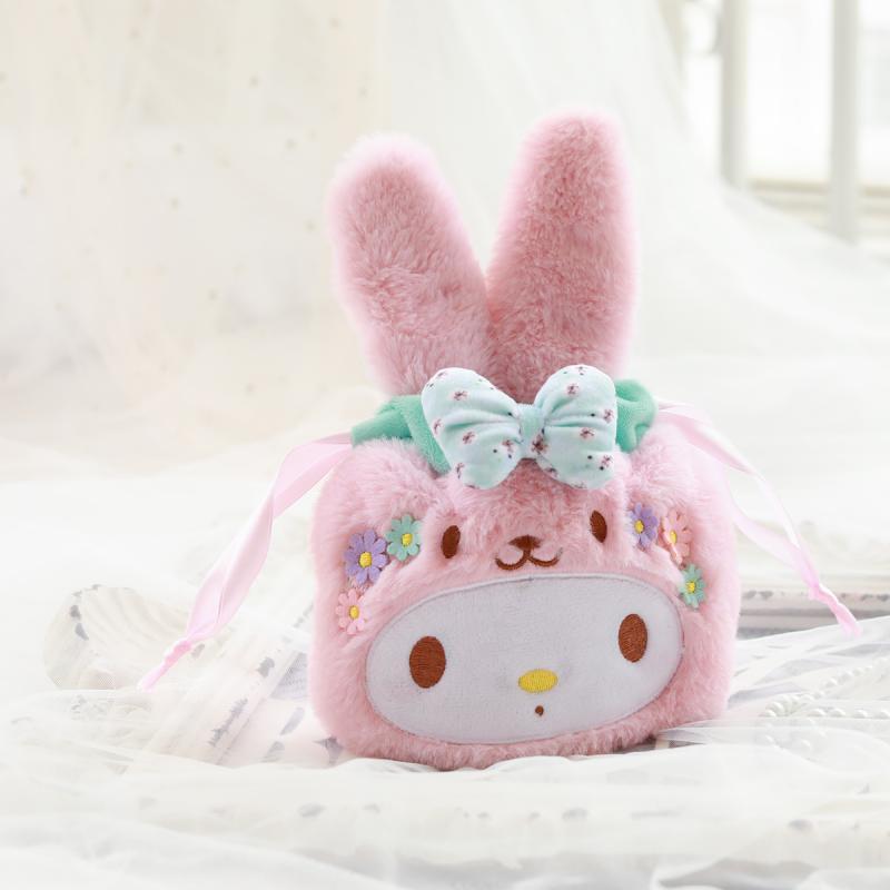 1pc Cartoon My Melody Twin Stars Duffy Bear Cosplay Rabbit Plush Draw Pocket Storage Organize Bags