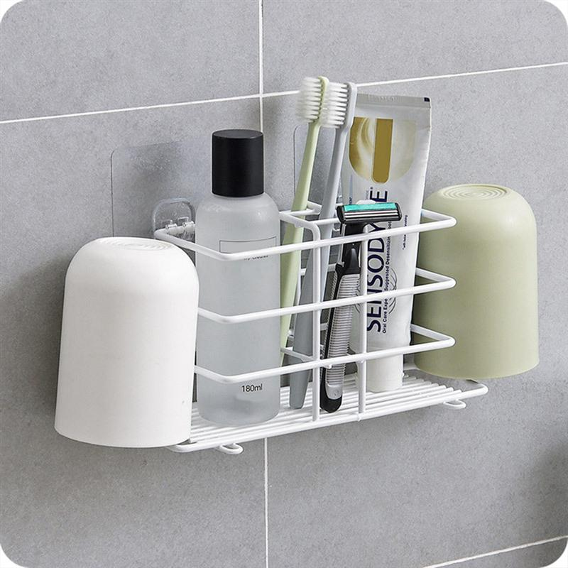 No Drilling Toothpaste Holder Wall Mounted Toothbrush Rack Durable Household Holder Storage Bathroom Organizer Accessories-in Toothbrush & Toothpaste Holders from Home & Garden