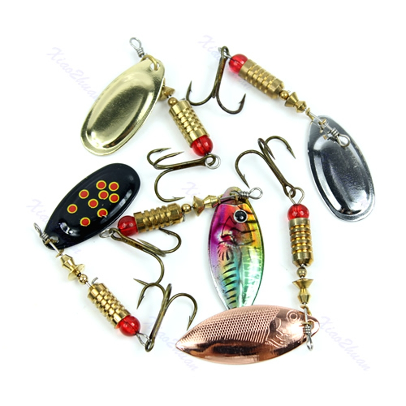 Toply  New 1pcs 6g Fishing Dish Lures Spinners Treble Hook Spinner Paillette Bait Fishing Accessories-in Fishing Lures from Sports & Entertainment