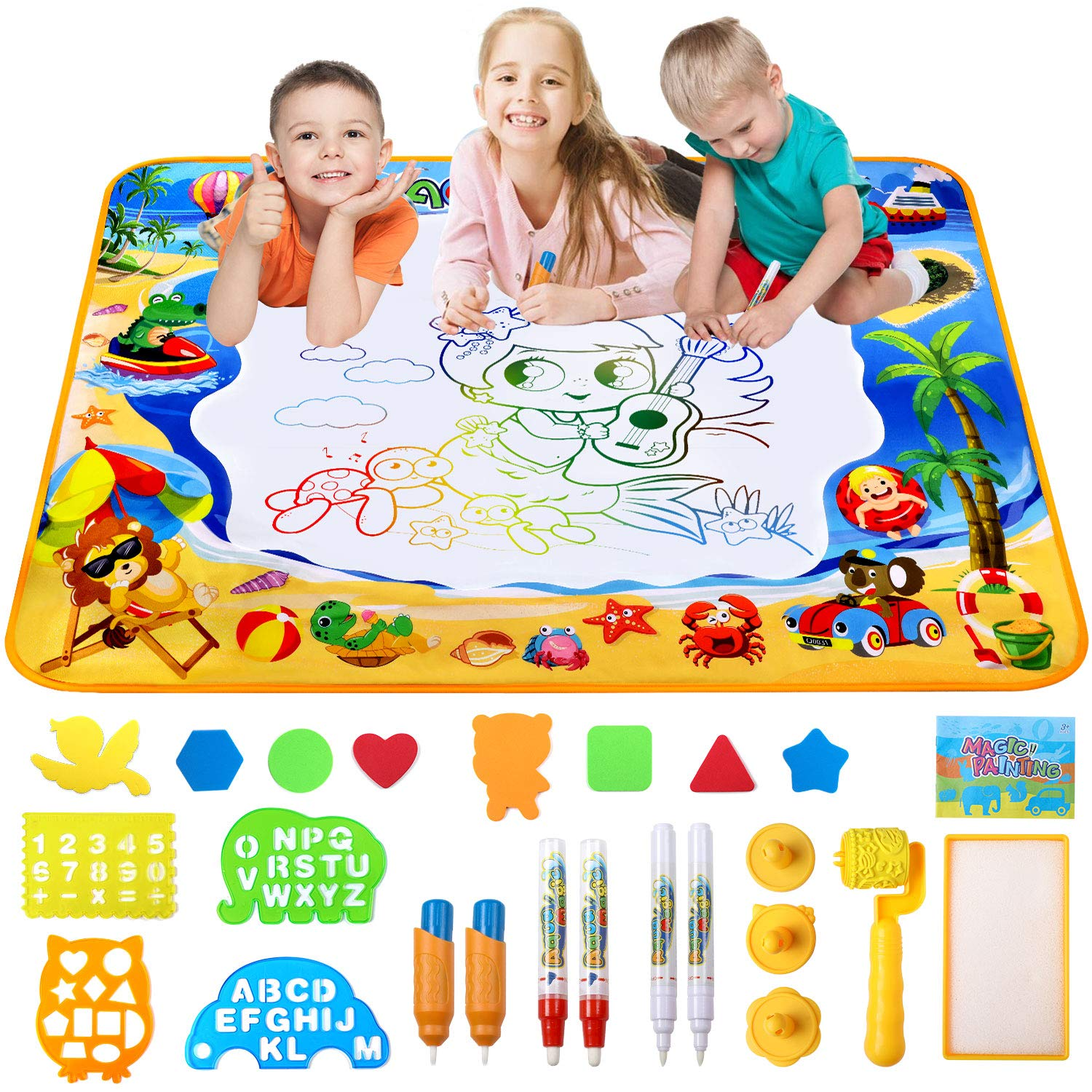 Water Doodle Mat, Large Aqua Magic Water Drawing Mat Painting Writing Pad Educational Toy Gifts For Boys Kids 100*70CM