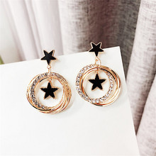 Korean Handmade Silver Needles Anti-allergy Star Rhinestone Drop Earrings Dangle Fashion Jewelry-BYD5