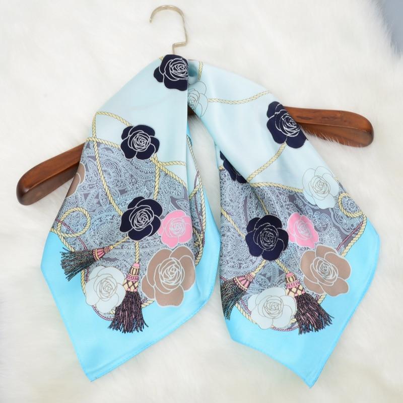 2018 Spring Head   Scarves   for Hair Wrapping 100% Soft Satin Silk   Scarf     Wraps   Foulard Neckerchief Fashion Print 65x65cm