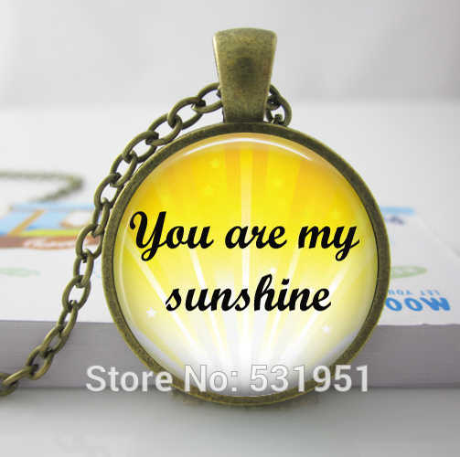 Wholesale  Photo Glass Cabochon,You Are My Sunshine Pendant Necklace,Mother daughter gift, Father son gift , Glass Dome Necklace