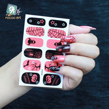 Rocooart Y5239 Manicure Decor Decal Adhesive Nail Art Stickers Pink Spider Net Halloween Fashion Nail Wrap Sticker Decoration