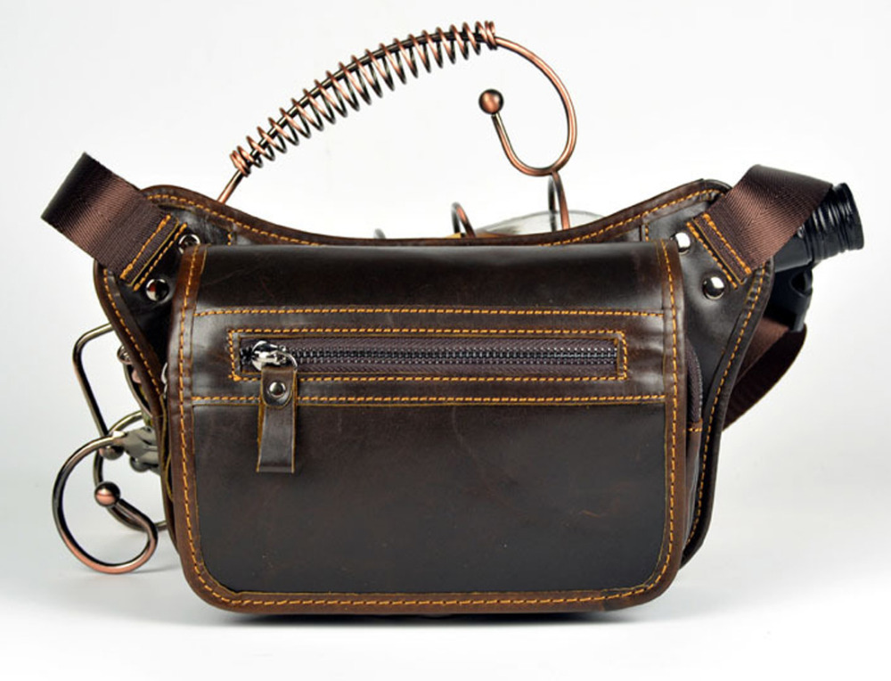 New Men Genuine Leather Vintage Travel Messenger Shoulder Sling Chest Hip Belt Bum Pouch Purse Fanny Pack Waist Bag цена