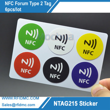 лучшая цена 5pcs Ntag215 Sticker with 5 color printing NTAG215 Label NFC Sticker NTAG215 Tag For Tagmo