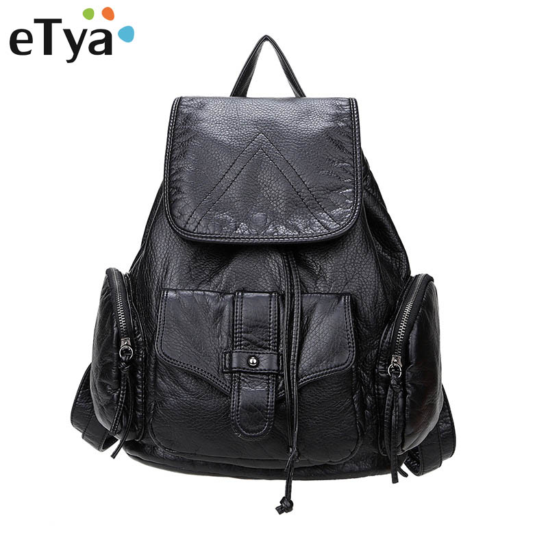 eTya Fashion Backpacks for Teenage Girls Women's PU Leather Backpack School Bag Casual Vintage Large Capacity Travel Backpack high quality stainless steel front grille around trim front bumper around trim racing grills trim for 2014 toyota corolla