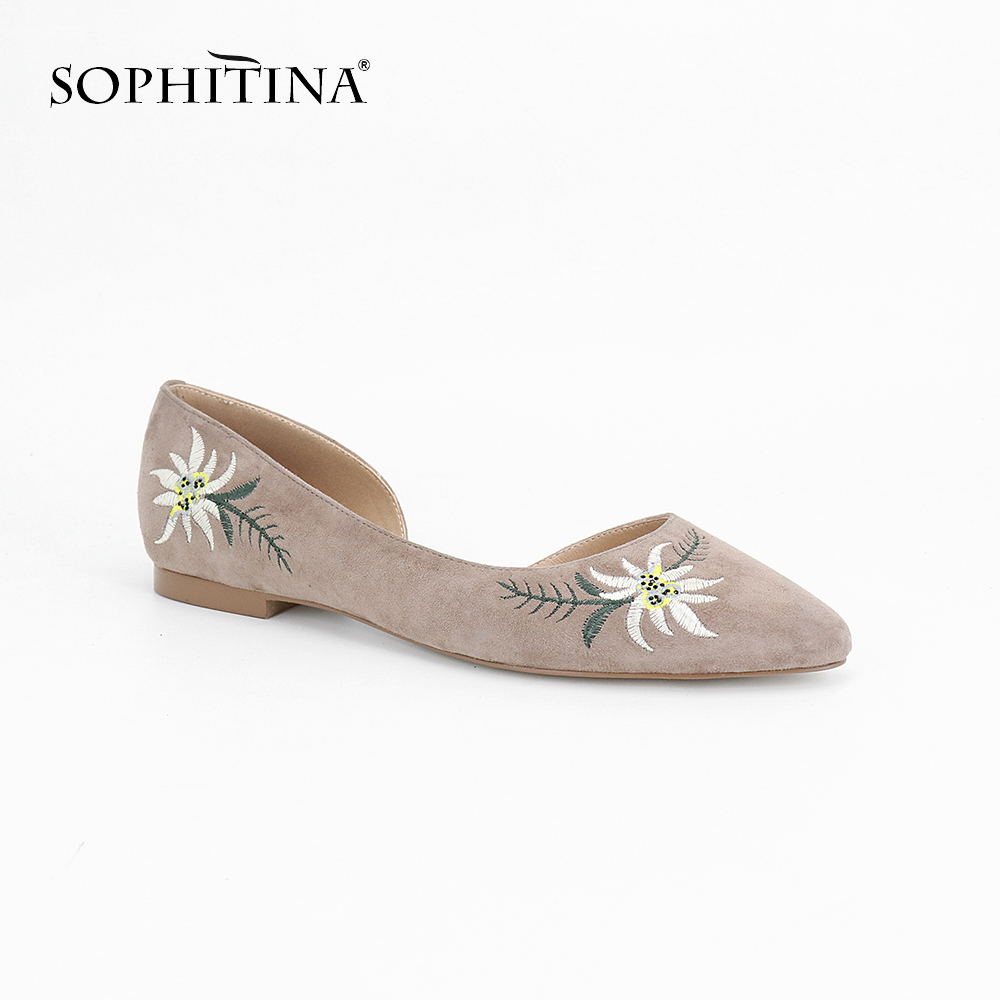 SOPHITINA 2019 Comfortable Women s Flats Kid Suede Casual Round Toe Slip on Autumn Shoes Handmade