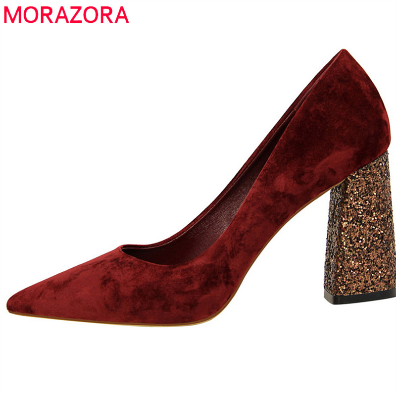 MORAZORA 2018 new arrive women pumps spring summer classic pointed toe flock drees shoes size 34-39 fashion high heels shoes moonmeek new arrive spring summer female pumps high heels pointed toe thin heel shallow party wedding flock pumps women shoes