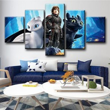 5 Piece Cartoon Movie Poster How To Train Your Dragon 3 The Hidden World Pictures Modern Canvas Painting Wall Art for Home Decor