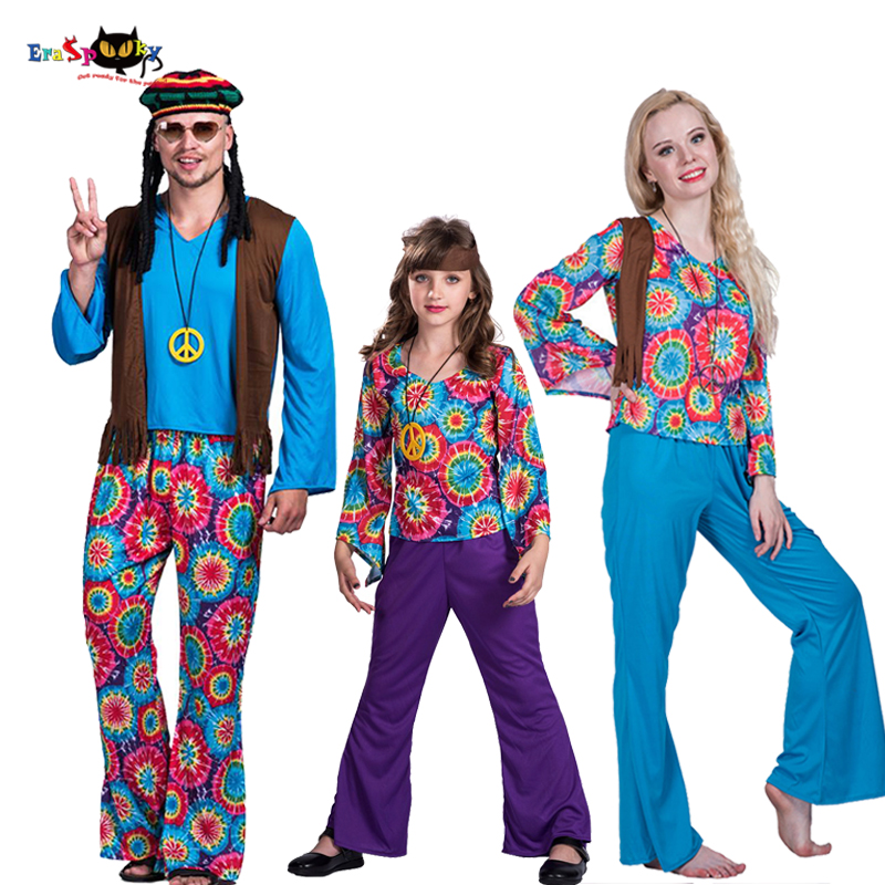 Men 70s Retro Hippie Peace and Love Cosplay Adult Halloween Costume Kids Carnival Party Women Family Group Fancy Dress Couples