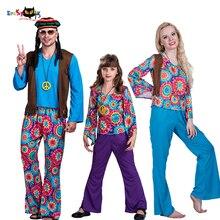 2e07391e467b3 Erkekler 70 s Retro Hippi Barış ve Aşk Cosplay Yetişkin Cadılar Bayramı  Kostüm Çocuklar Karnaval Parti