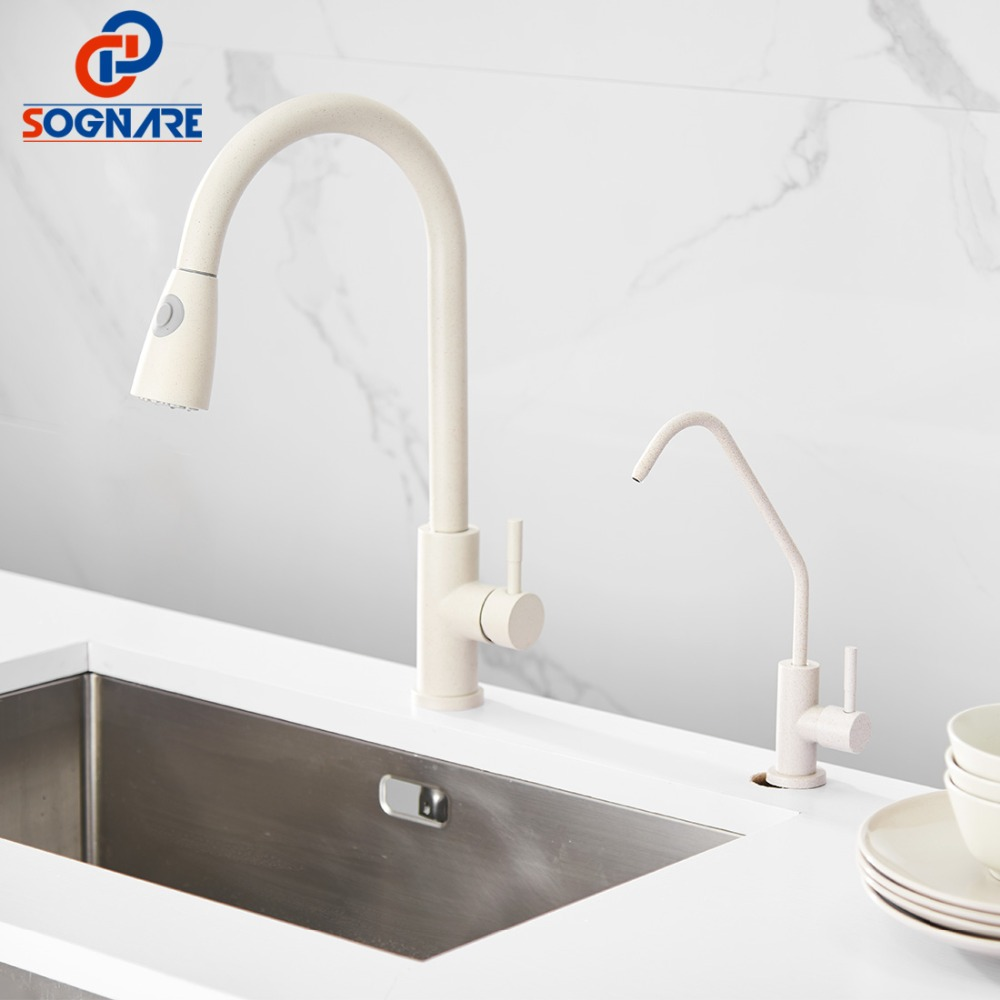 SOGNARE Pull Out Kitchen Faucet Mixer Hot Cold Tap Kitchen Tap Filtered Water Tap For Kitchen Sink Faucet And Ro 1/4 Kitchen Tap