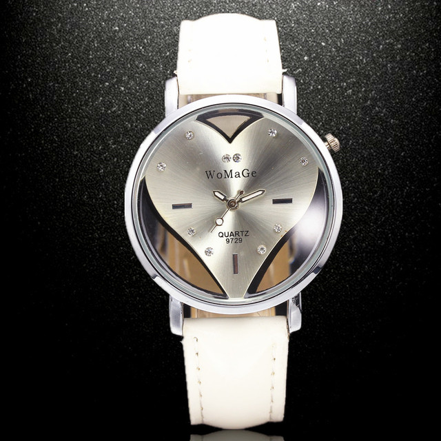 Luxury Women's Quartz Wristwatch with Heart-Shaped Dial