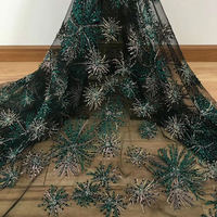 green black french lace fabric handwork lace african lace fabric with sequins embroidery beaded mesh tulle fabric 15 yards RG615