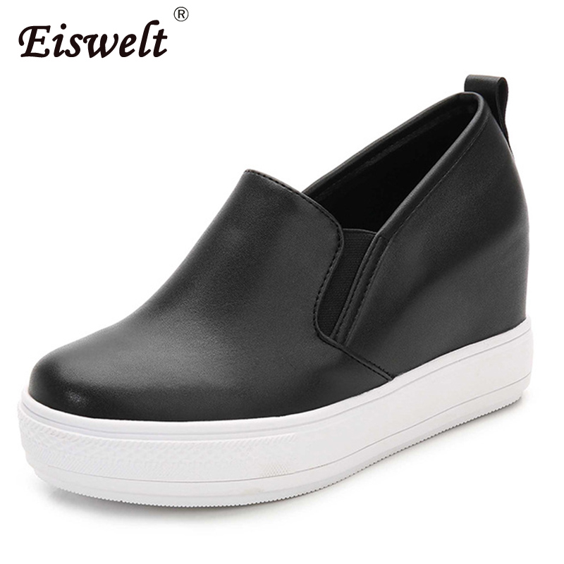 EISWELT Women's Shoes Wedges Pumps Fashion Slip on High Heels Round Toe Platform Pumps Women Spring Autumn Casual Shoes#ZQS270 hot new 2018 spring autumn wedges high heels ladies casual shoes vulcanize women slip on platform shoes female chaussure femme