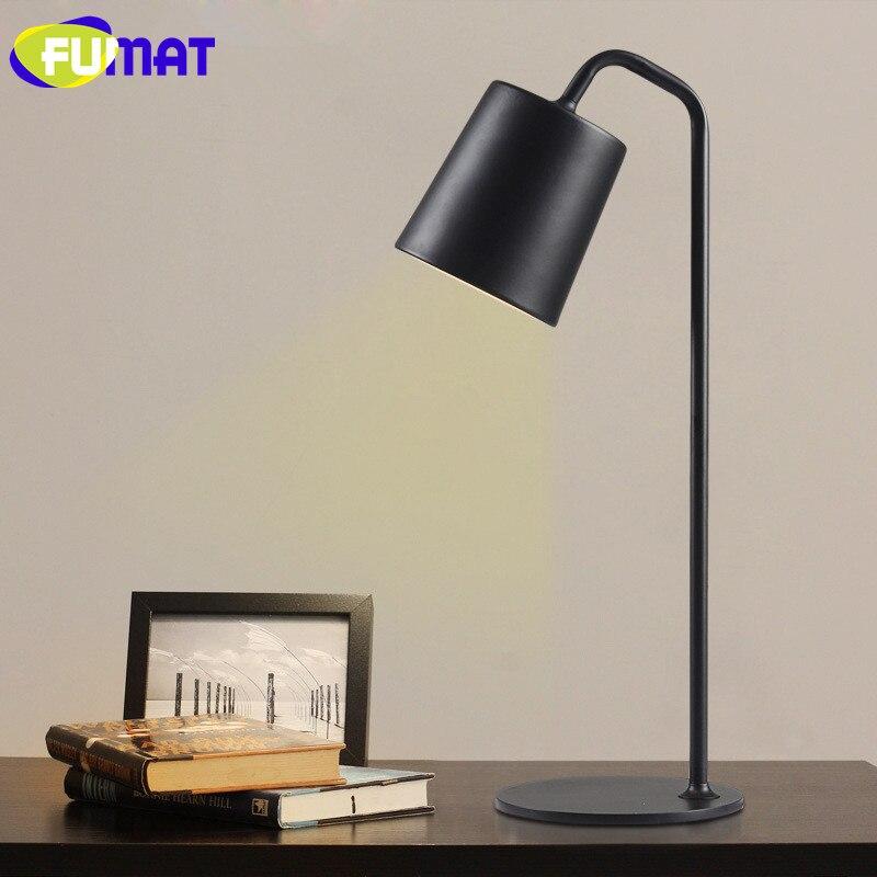 Фумат Настольные лампы Nordic исследование LED Настольная лампа Eyecare Спальня ночники современный простой металлический стол, лампа