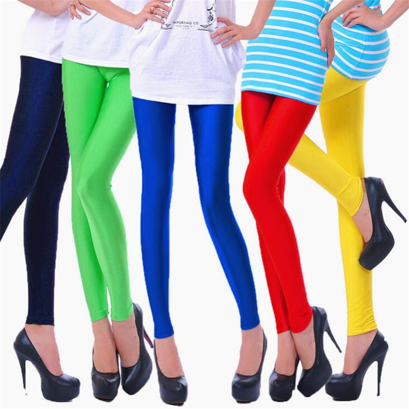YRRETY 2018 Women Slim Spandex   Leggings   Solid Candy Color Neon   Leggings   Adventure Time Skinny High Elastic Female Pants Leggins