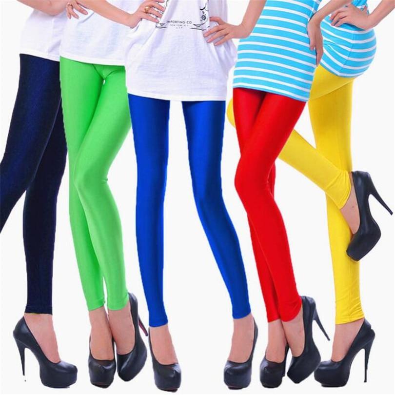 YRRETY 2019 Women Slim Spandex   Leggings   Solid Candy Color Neon   Leggings   Adventure Time Skinny High Elastic Female Pants Leggins