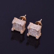 Iced Out Bling Gold Stud Earrings (1 pair)