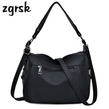 Women Pu Leather Handbags Large Capacity Shoulder Bags Soft Female Messenger Crossbody Bags Handbags Women Famous Brands Bolsos zmqn women leather handbags oil wax soft leather hand bags large capacity crossbody bags famous brand portable strap adjustable