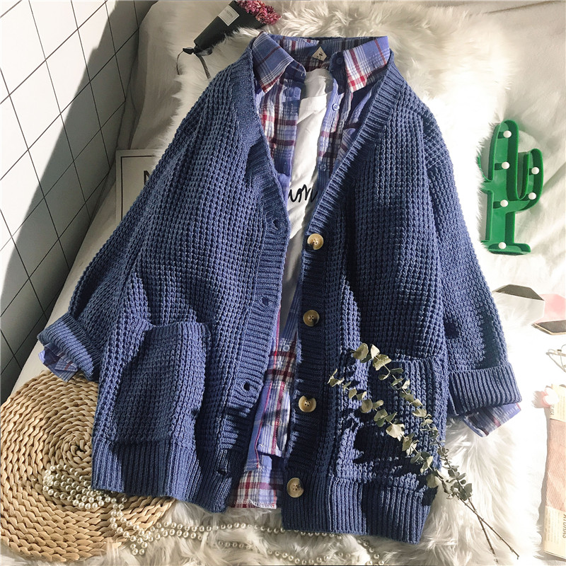Solid 2019 Winter New Women Sweater And Cardigan Knitted Pockets Loose Lady Female Outwear Coat Tops
