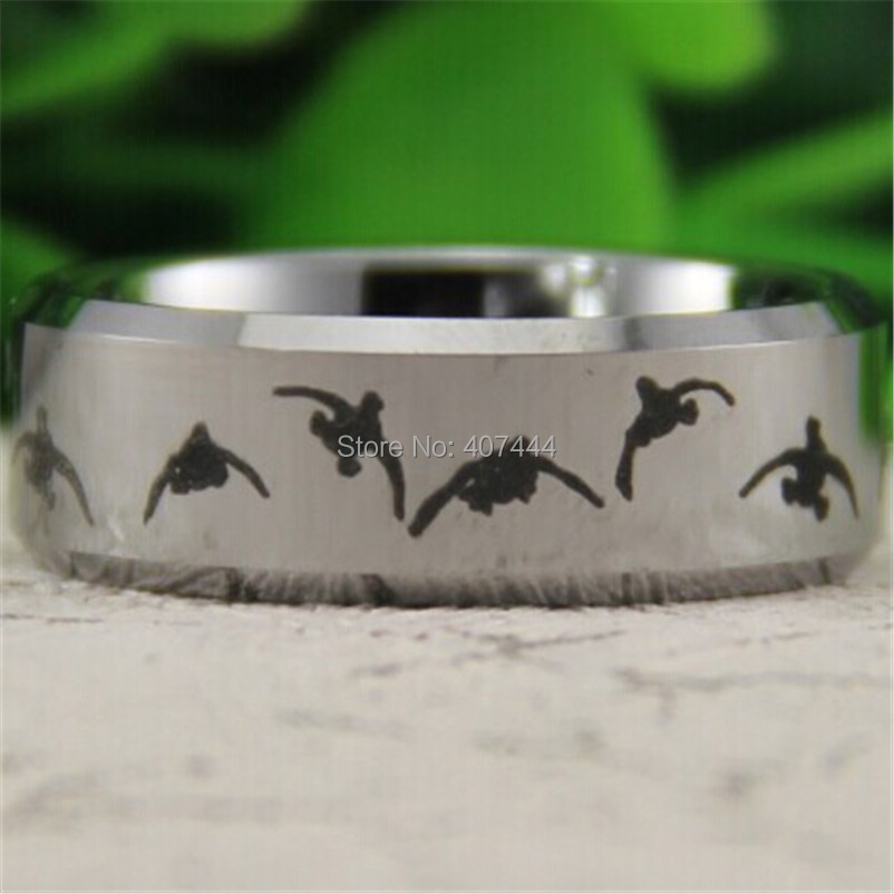 free shipping ygk jewelry hot sales 8mm silver bevel outdoor duck hunting mens comfort tungsten wedding ring