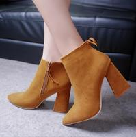 2018 autumn and winter new European and American fashion Martin boots star with the same pointed thick with suede bare boots wom