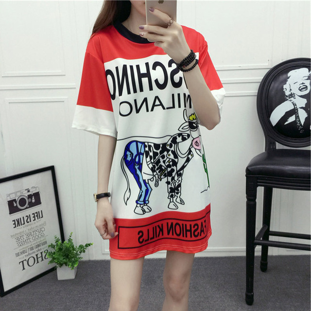 2016 Fashion Hip Hop Style Cartoon Cattle Printed T shirt Women Letters Loose Long T-shirt for Woman 1609