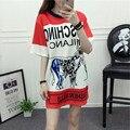 2016 Moda Hip Hop Estilo Gado Dos Desenhos Animados Impresso T shirt Mulheres Letras Soltas T-shirt Longo para a Mulher 1609