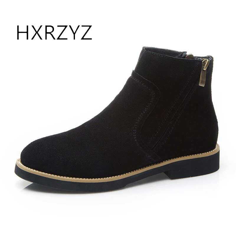 HXRZYZ women ankle boots suede genuine leather boots spring/autumn ladies new fashion side zipper low heel women's winter shoes hxrzyz autumn ankle boots women increased wedges new round toe thick heel female anti skid side zipper shoes black winter boots