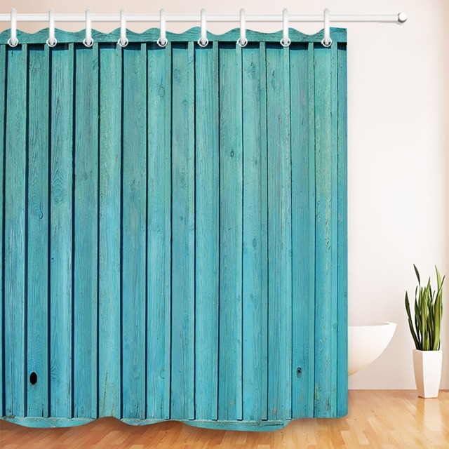 LB 72 Retro Shower Curtain Rustic Painted Wood Plank Country Themed Farmhouse Bathroom Curtains Fabric For Bathtub Home Decor