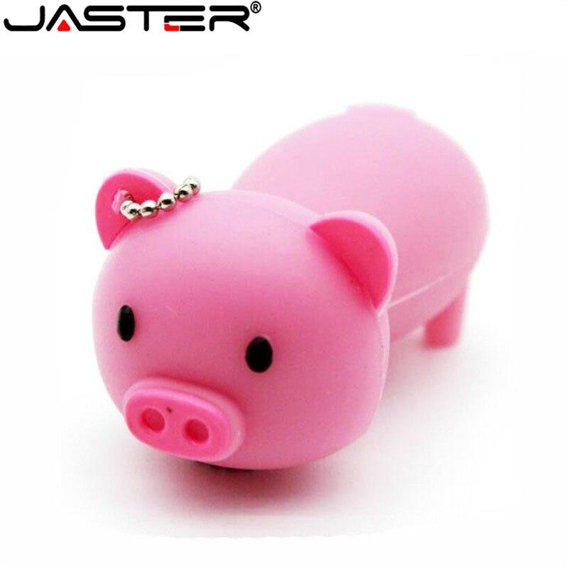JASTER Hot Fashion Creative Cartoon Pink Small Pig Real Capacity USB Flash Drive 2.0 4GB/8GB/16GB/32GB/64GB Memory Stick