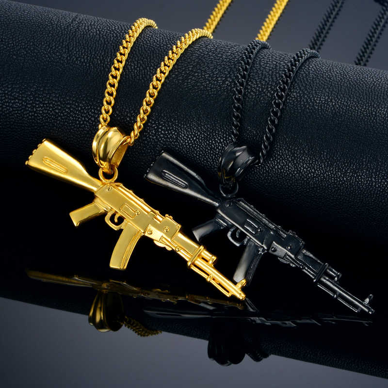 AK47 Gun Necklace Pendant Hip Hop Women Men Jewelry Erkek kolye Black/Gold Stainless Steel Men's Necklace with Hiphop Chain