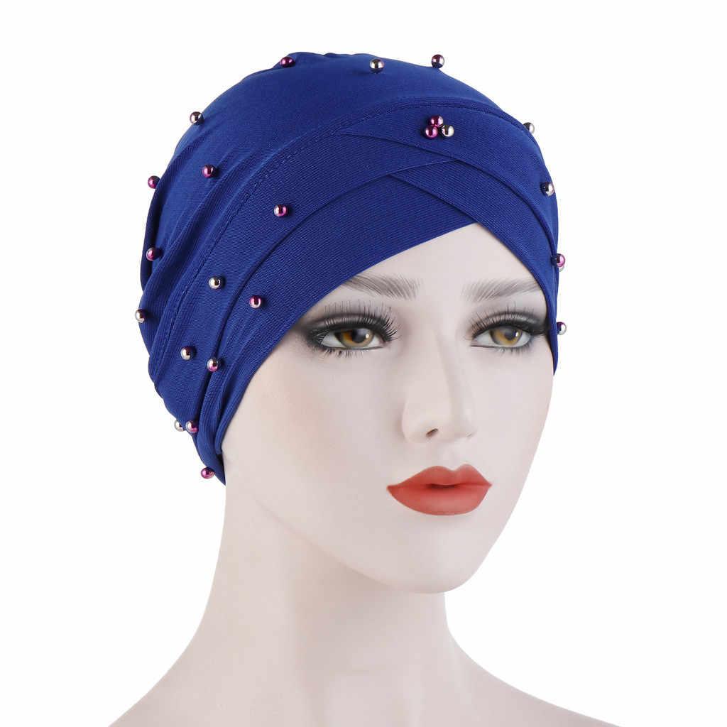 2019 женский цельный бисероплетенный головной убор в индийском стиле мусульманская гофрированная раковая Шапочка-тюрбан шапочка милые аксессуары для волос