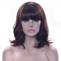 Soowee Wavy Brown Short Synthetic Hair Wig Pink Black Red Party Hairpieces Cosplay Wigs for Women