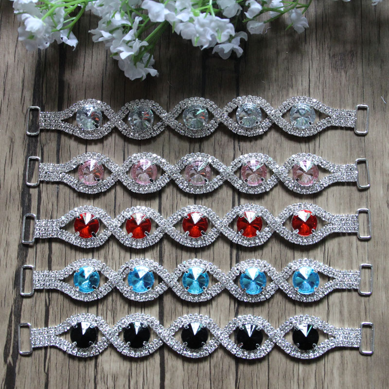 Free Shipping 20pcs lot 6 5 Rhinestone Connector Shoe Buckle Apparel Buckle Bikini Connector Headband Connector