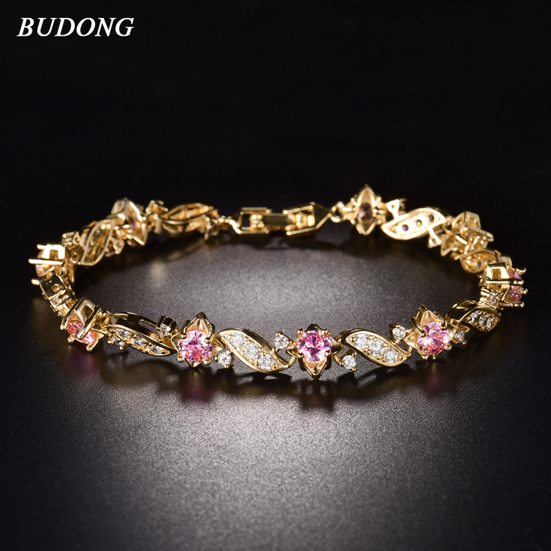 BUDONG 18cm Fashion Hand Bracelets for Women  Gold Plated Bracelet Pink Crystal Cublic Zirconia Jewelry Bangles L104