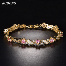 BUDONG 18cm Fashion Hand Bracelets for Women Silver Gold Color Bracelet Pink Crystal Cublic Zirconia Jewelry