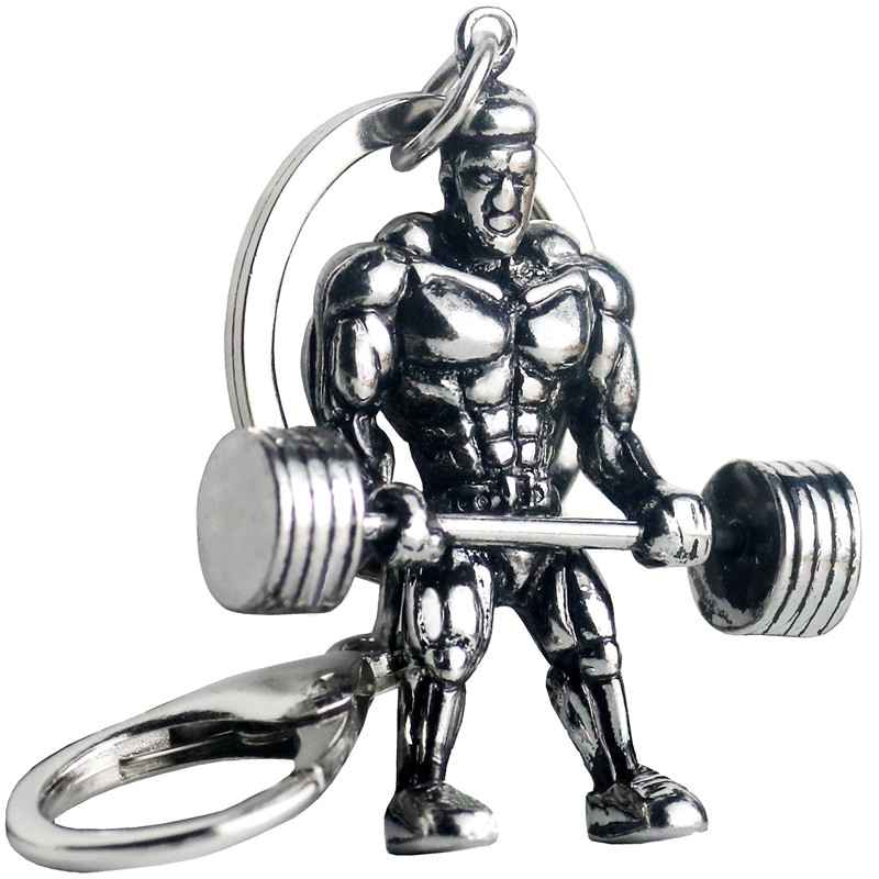 Weightlifting Dumbbell Keychain Strong Man Fitness For Male Car Wallet Dangle Lobster Key Ring Hip Hop Gym Jewellery Gifts Femme