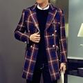 2016 outono e inverno Novo estilo de moda masculina de lazer grade trincheira homem casaco trespassado casacos casaco Frete grátis