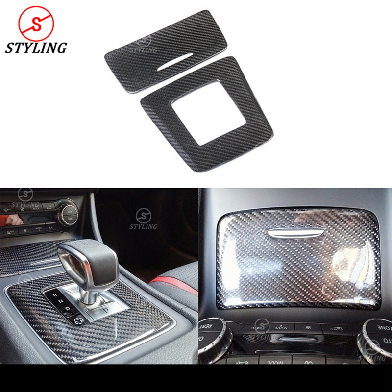 For Mercedes-benz AMG A45 CLA45 GLA45 Carbon Fiber Gear Surround Compartment Base Cover Interior Trim Accessories LHD & RHD for nissan r34 gtr carbon fiber radio surround stick on type rhd fibre interior garnish car styling in stock