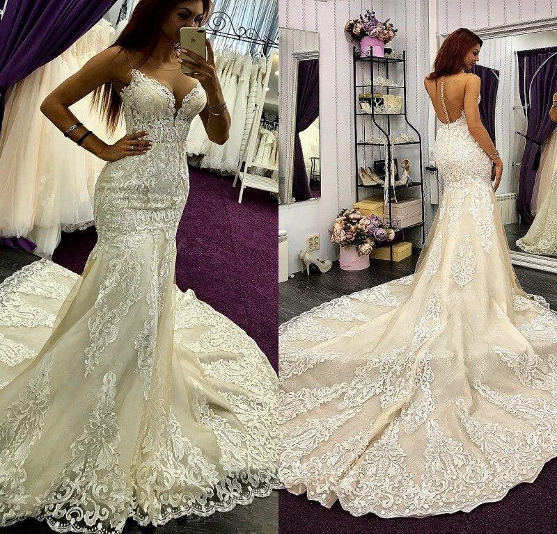 2019 Bohemian Wedding Dresses Jewel Sleeveless Lace Appliques Bridal Gowns Sweep Train Mermaid Wedding Dress Robe De Mariee