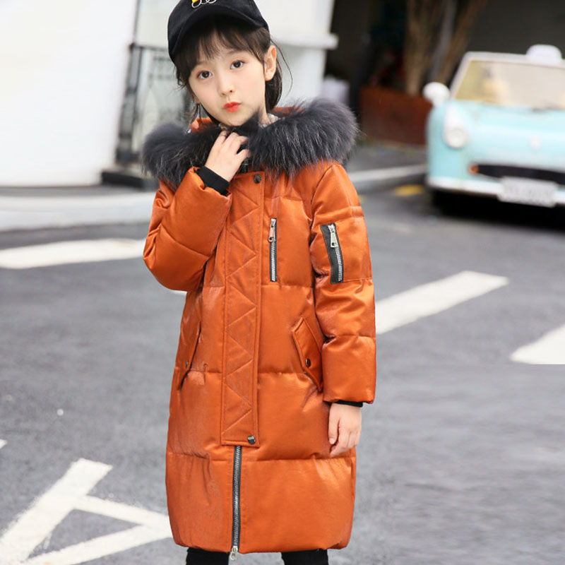 Christmas big girls white duck down jacket winter long jackets children outerwear coats fashion thick warm big collar overcoat
