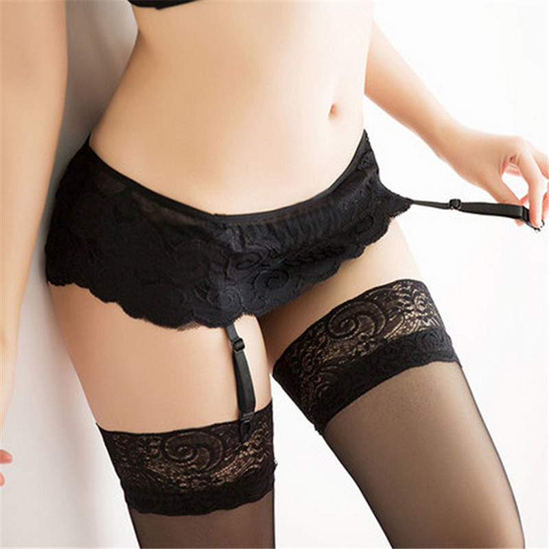 Sexy Women Dual Layer Lace Garter Belt Matching G-String Hold With Stockings